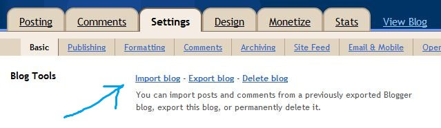 import blog at blogger
