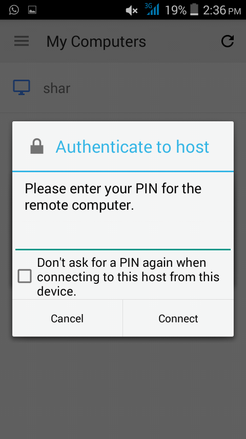 enter your PIN for connecting