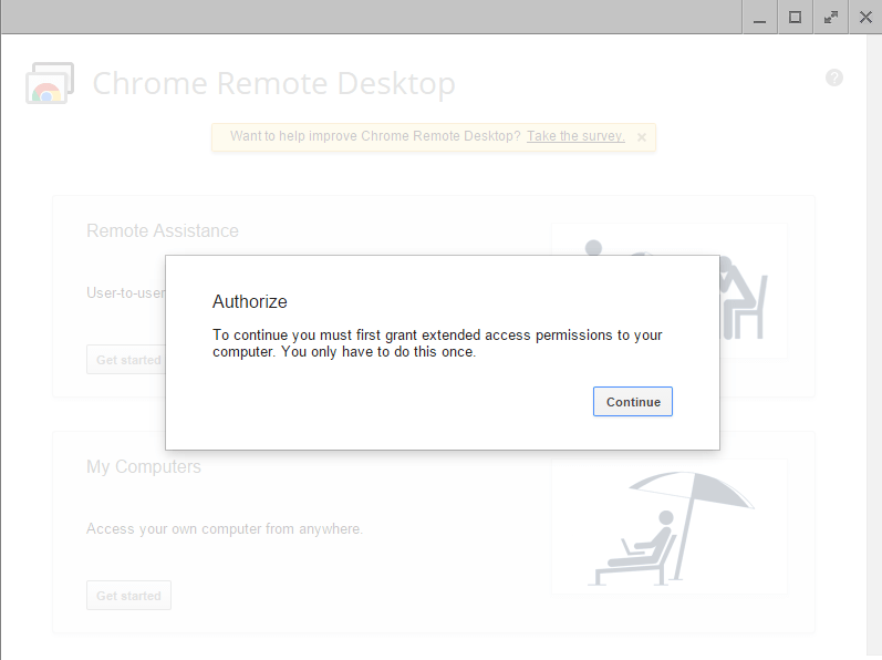 chrome remote desktop authorize