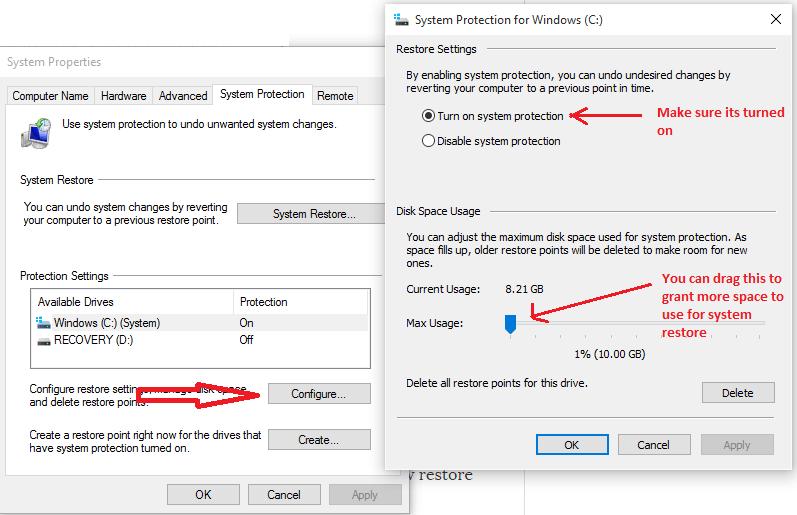 configuration-system-restore-windows-10