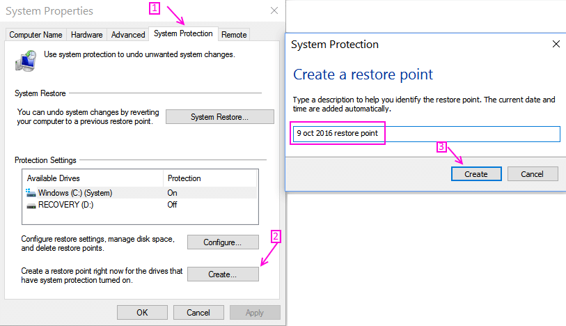 create-restore-point-windows-10