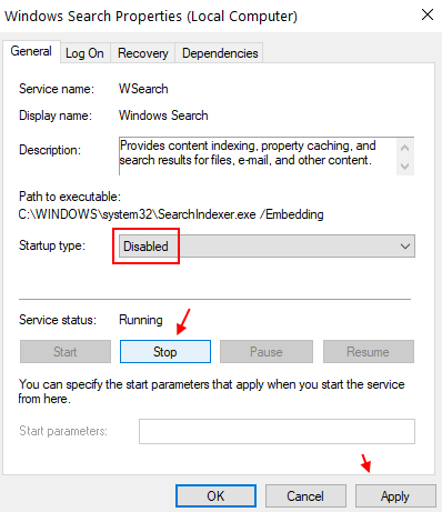 Disable Search Min