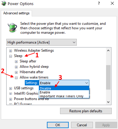Disable Wake Timers Min