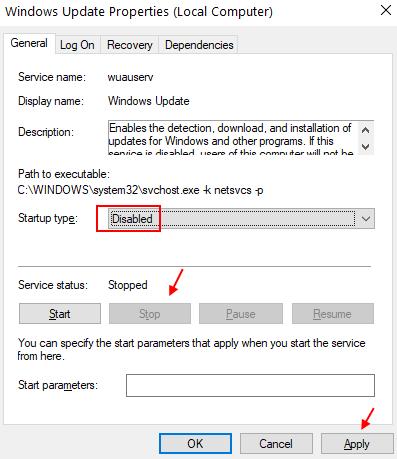 Disable Windows Update Min