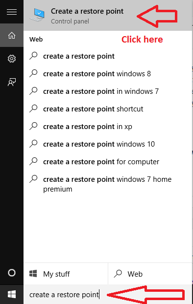 search-create-restore-point-windows-10-taskbar