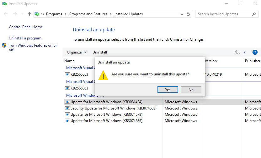 select-update-windows-10-uninstall