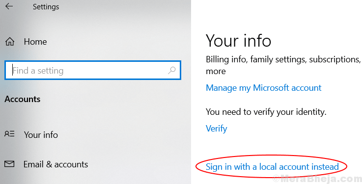Sign In With Local Account