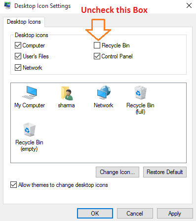 uncheck-recycle-bin-to-be-shown-desktop