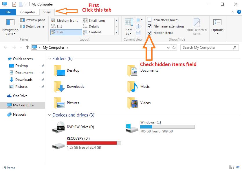 view-hidden-items-file-explorer