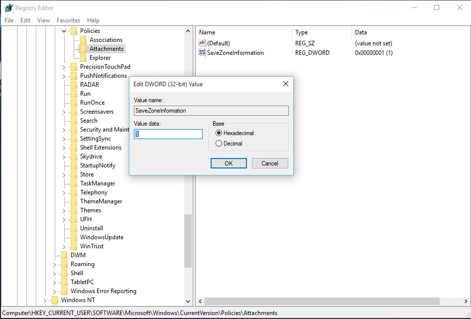 Windows-10-disable-zone-information-registry