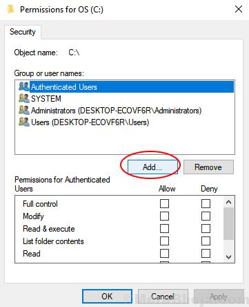 Add User Security Min