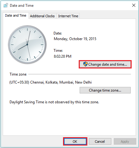 Change clock setting to show days of the week in Windows 10