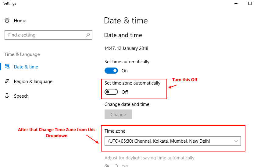 How to change time zone in windows 10 PC