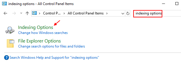 Control Panel Indexing Options