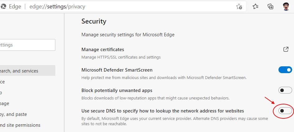 Disable Secure Dns Edge 1 Min