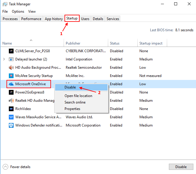 Disable Startup Onedrive