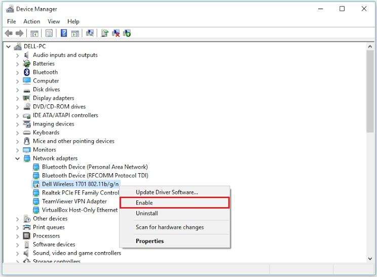 enable-network-adaptor