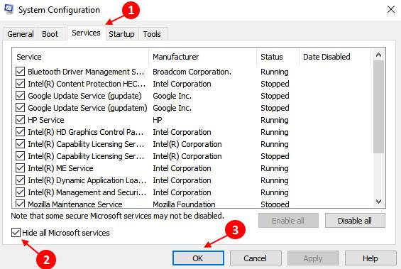 Hide All Non Microsoft Services