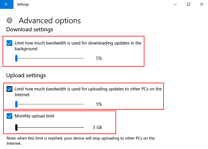 Limit Download Upload Windows 10