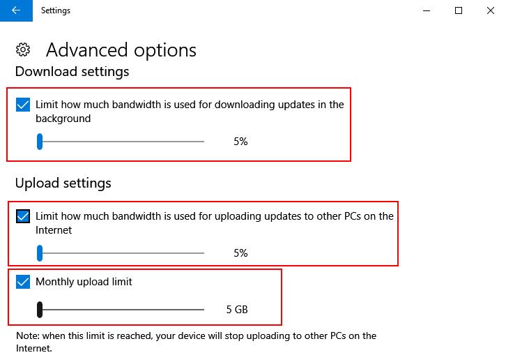 Limit Download Upload Windows 10