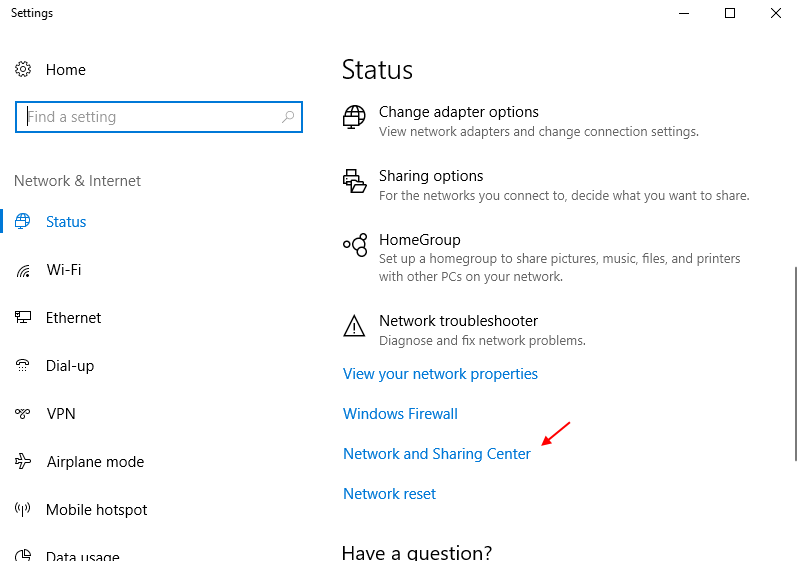 Network Sharing Centre Windows 10 Settings App