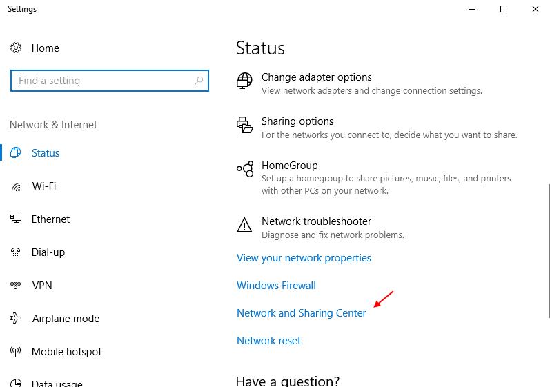 Network Sharing Centre Windows 10 Settings App
