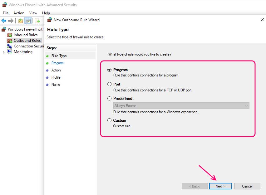 select-program-type-firewall-rule
