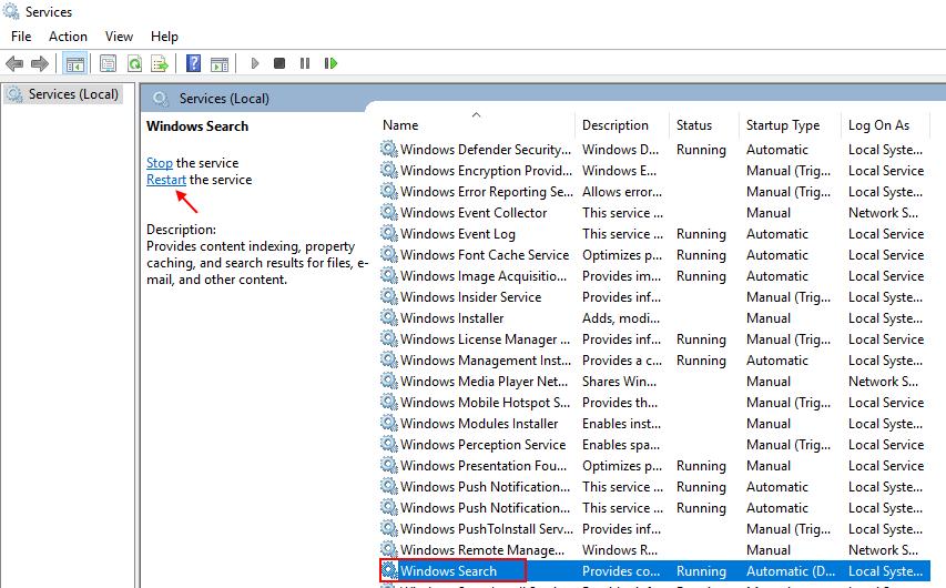 Windows Search Restart