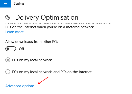 Windows Update Delivery Optimization Advanced Options