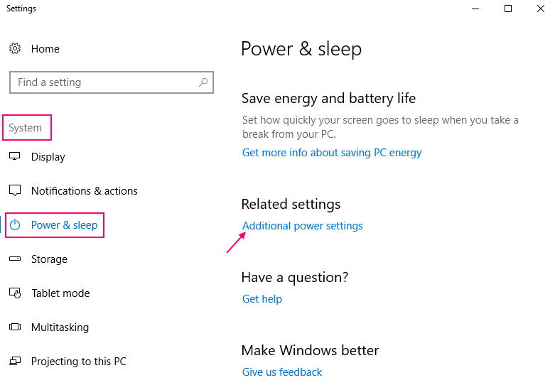 Additional Power Settings