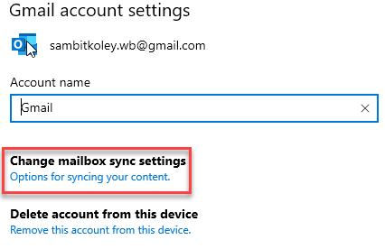 Change Mailbox Sync Settings Min