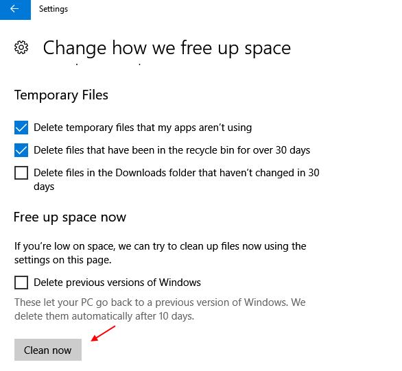 Clean Now Windows 10