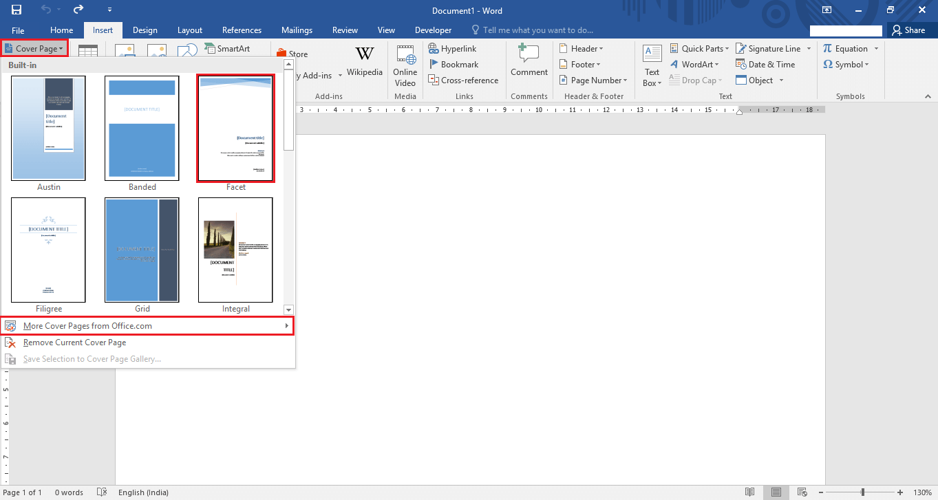 how to create a cover page in microsoft word 2016 cover page office 2016 3