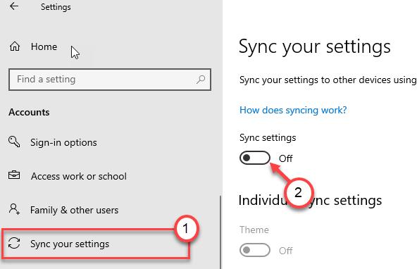 Sync Settings Off Min