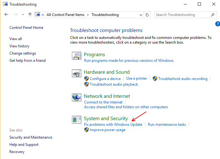 find-fix-problems-update-windows-10