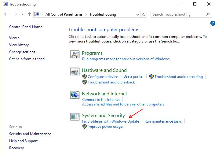 find-fix-problems-update-windows-10