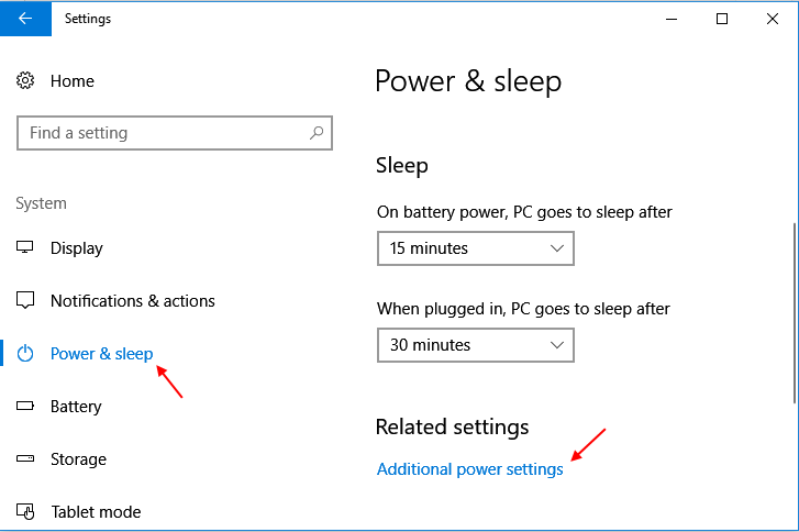 Power Sleep Settings Windows 10