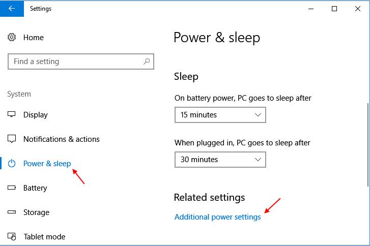 Power Sleep Settings Windows 10