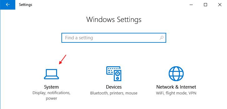 Settings System Windows 10