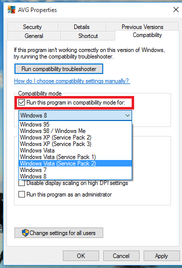 Use compatibility mode to run old software in windows 10