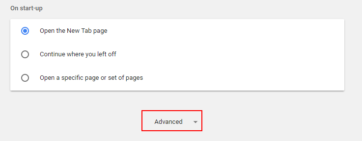 Advacned Settings Chrome
