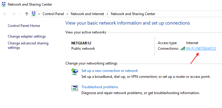 Click Wifi Network Sharing Centre Windows 10