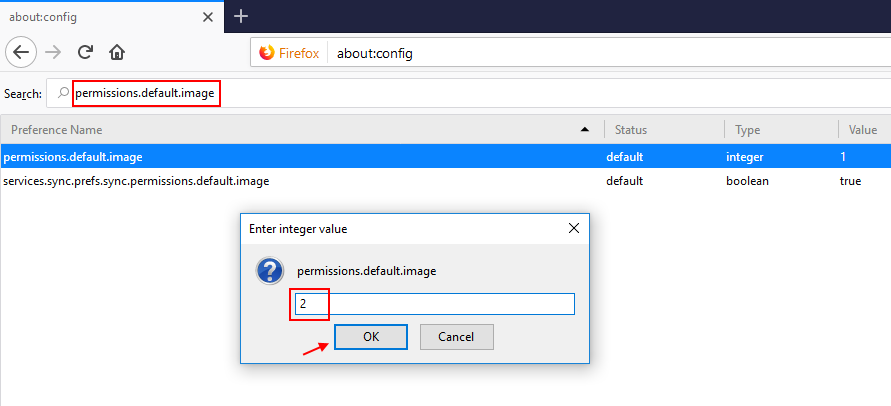 Firefox Permission Default Images