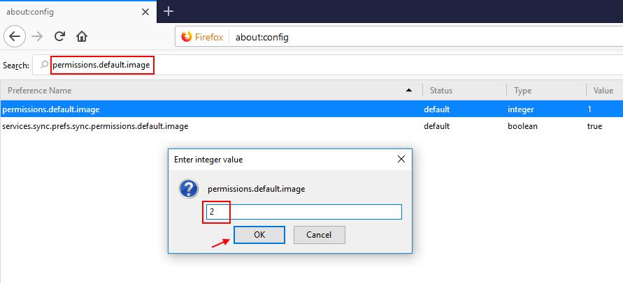 Firefox Permission Default Images