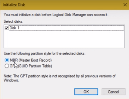 Initialize Disk Min