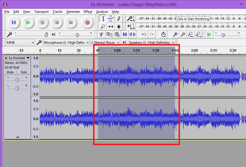 Select the portion of track for editing