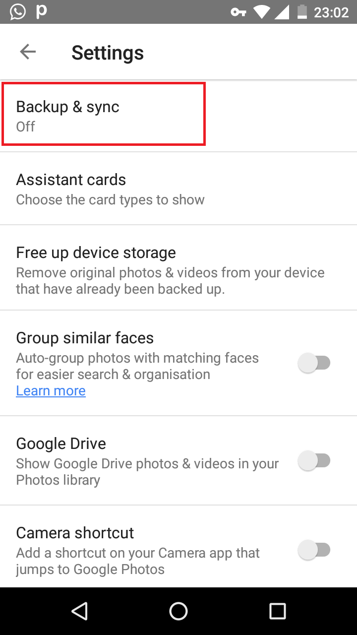 Backup feature