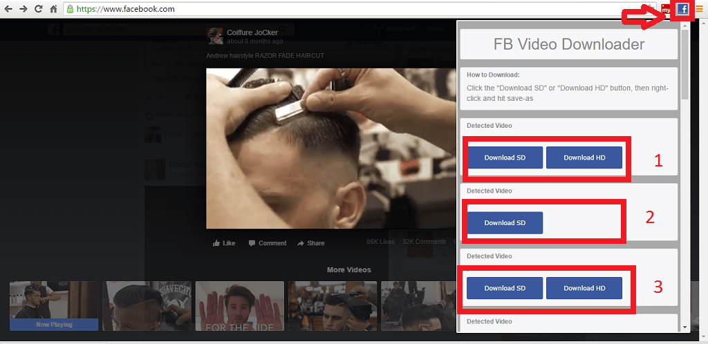 FB video downloader step 2