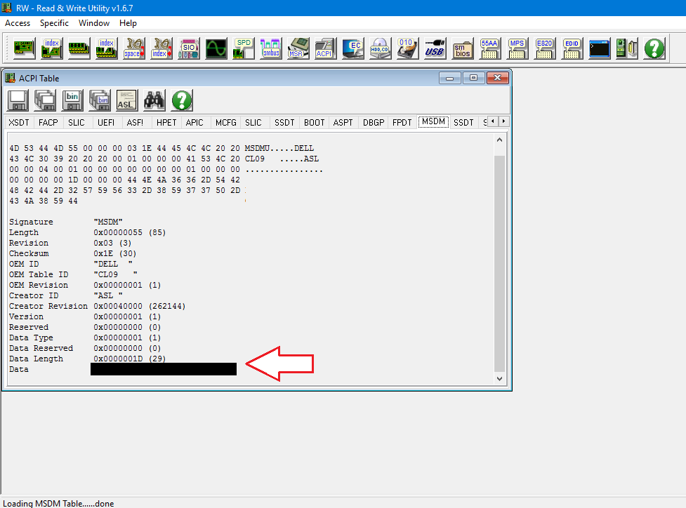 Use RWEverything to fetch product key from motherboard in