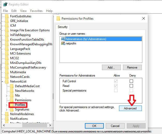 advanced settings in registry editor